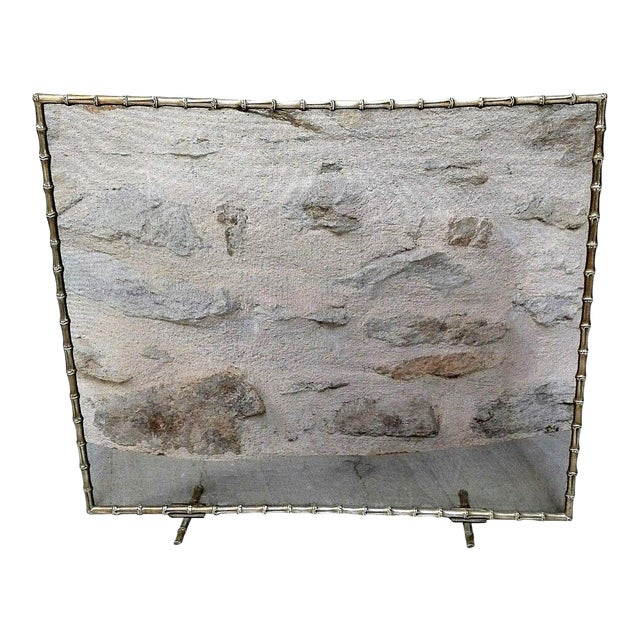 1940s French Art Deco Maison Bagues Bronze Fireplace Screen - Bamboo For Sale