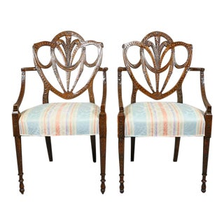 Pair of Edwardian Finely Carved Mahogany Armchairs For Sale