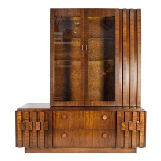 Lane Brutalist Mosaic Walnut China Cabinet
