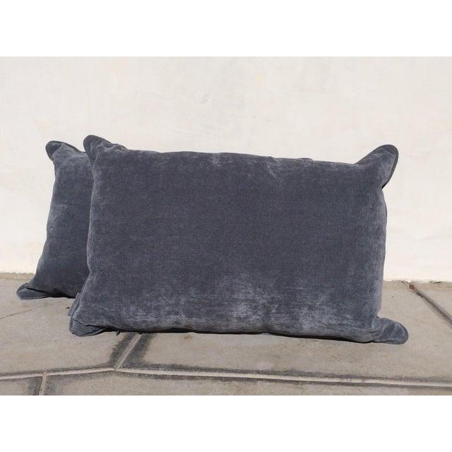 Velvet Cape Cod Blue Pillows - a Pair - Image 6 of 8