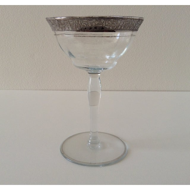 Sterling Floral Etched Cut Champagne Coupes- Set of 6 - Image 5 of 8