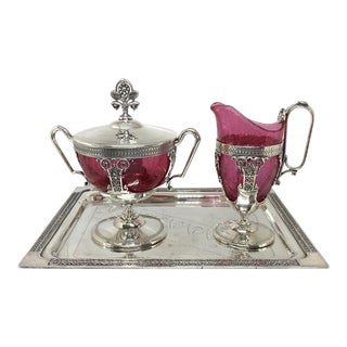 Victorian Silver Plate Creamer & Sugar Set on Tray - 3 Piece Set For Sale