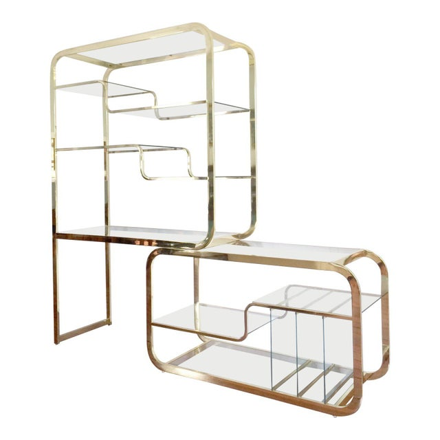 Mid-Century Modern 1970s Mid-Century Modern Milo Baughman Extendable Brass and Glass Étagère - 2 Piece For Sale - Image 3 of 13