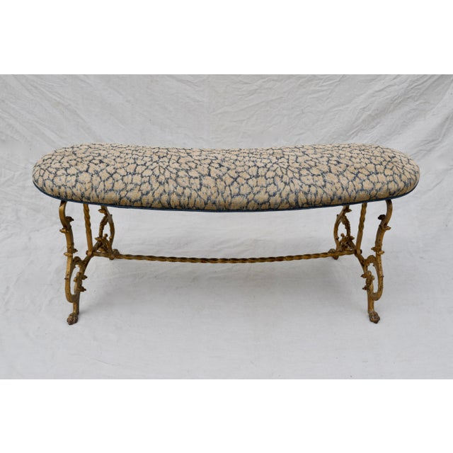 Gilt Iron Bench in Indigo Blue Leopard For Sale - Image 10 of 13