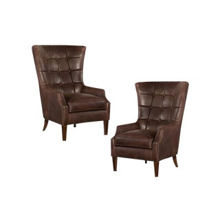 Chocolate Leather Wing Chairs - A Pair