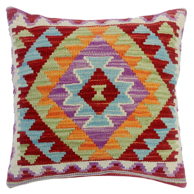 "Chelsey Red/Purple Hand-Woven Kilim Throw Pillow(18""x18"") For Sale"
