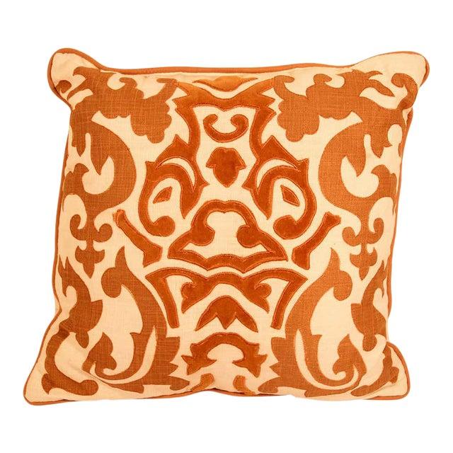 Decorative Silk Velvet Applique Throw Pillow For Sale