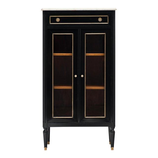 Petite Louis XVI Style Ebonized Mahogany Bookcase For Sale