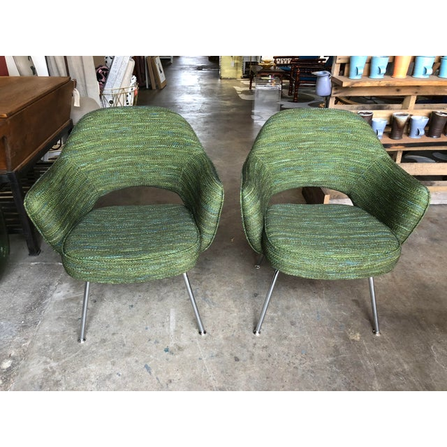 Green Saarinen for Knoll Executive Armchairs - A Pair For Sale - Image 10 of 10