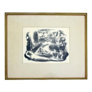 Mid Century Modern Emil Weddige Framed Signed Lithograph Swinging Bridge For Sale