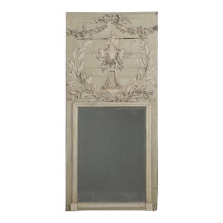 Antique French Painted Trumeau Mirror in Original Condition For Sale
