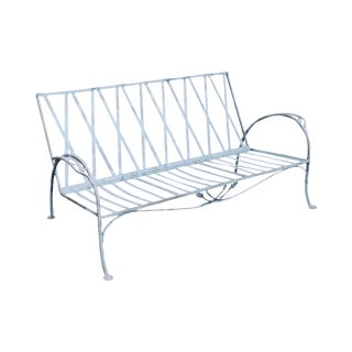 Salterini Vintage Wrought Iron Art Nouveau Patio Garden Sofa For Sale