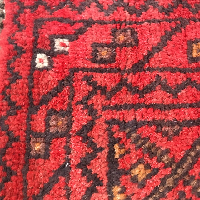"""Red Patterned Afghan Wool Rug - 3'6"""" X 5'8"""" For Sale - Image 8 of 13"""