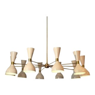 "Blueprint Lighting Modern ""Ludo"" White Enamel & Brass Chandelier For Sale"