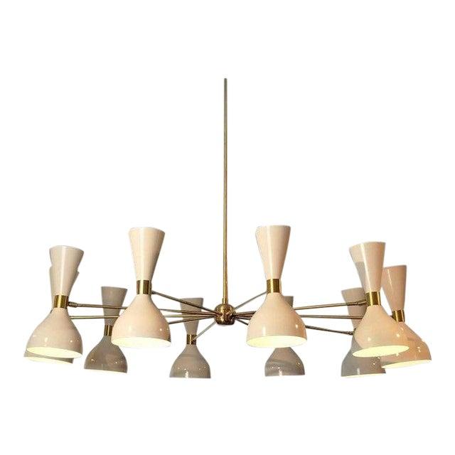 """Blueprint Lighting Modern """"Ludo"""" White Enamel & Brass Chandelier For Sale"""