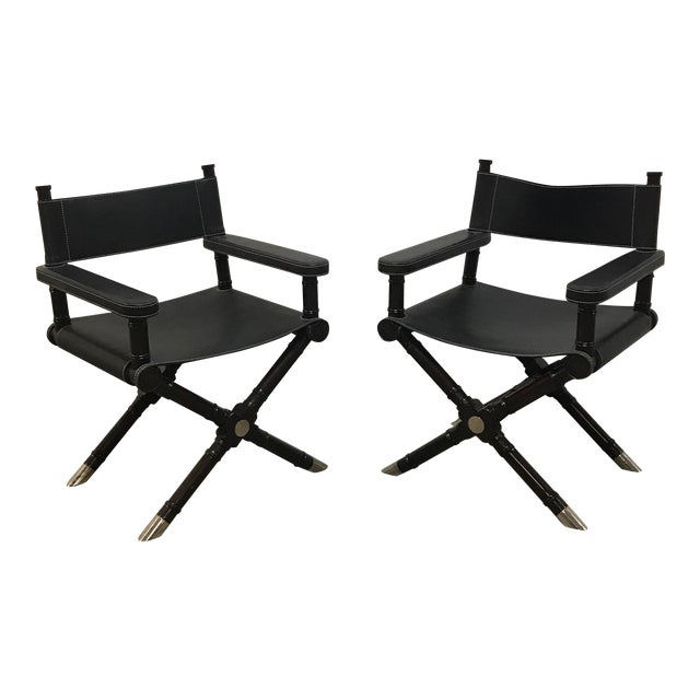 Modern Style Director's Chairs - a Pair For Sale