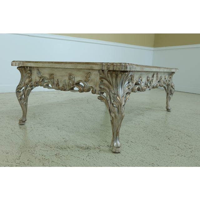 1990s French Paint Decorated Coffee Table W. Frosted Glass Top For Sale - Image 5 of 8
