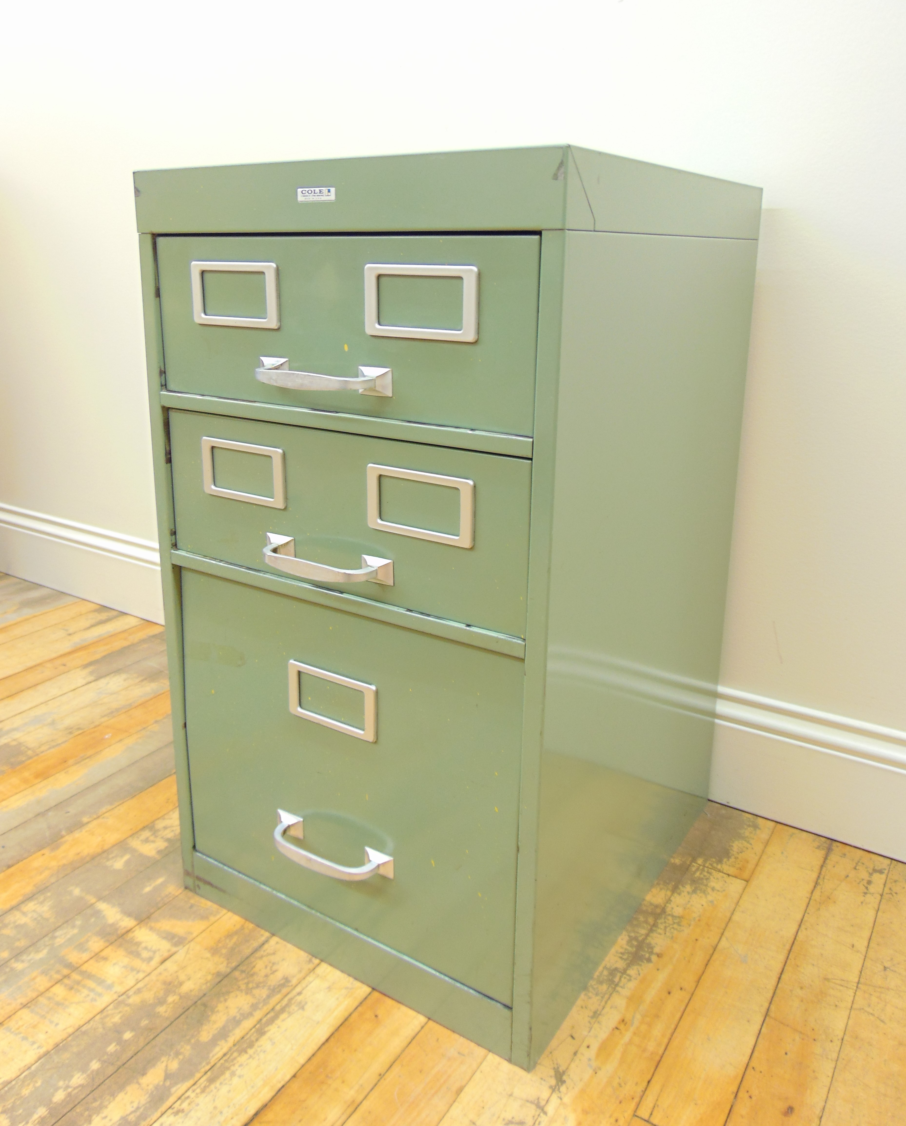 Cole Industrial Light Green Metal File Cabinet   Image 3 Of 8