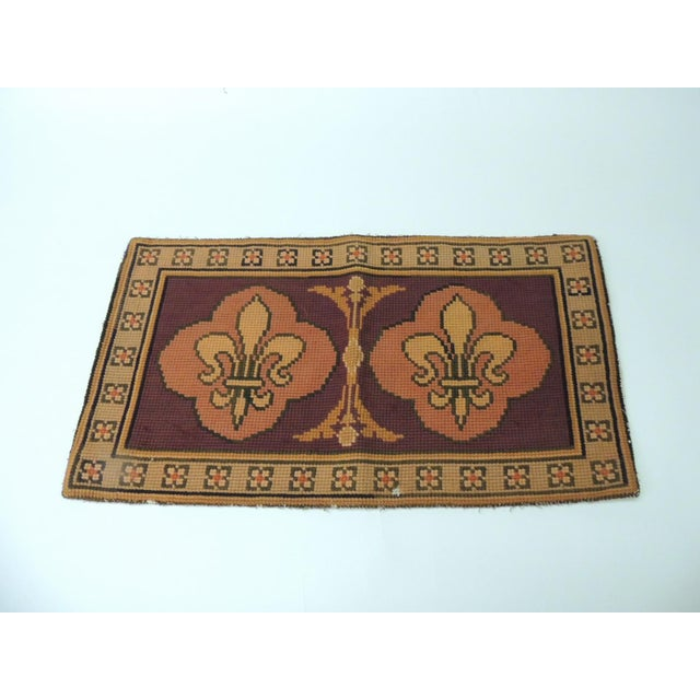 Vintage Fleur-De-Lis Yellow and Red Tapestry For Sale In Miami - Image 6 of 6