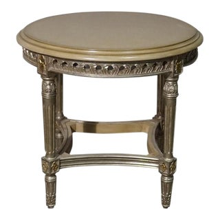 Hollywood Regency White Gold Leaf Side Table For Sale