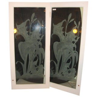 Art Deco Style Etched Glass Wall Decorations - a Pair For Sale