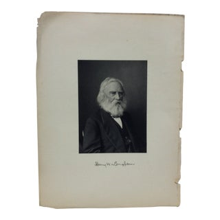 "1900 Vintage ""Henry W. Longfellow Print For Sale"