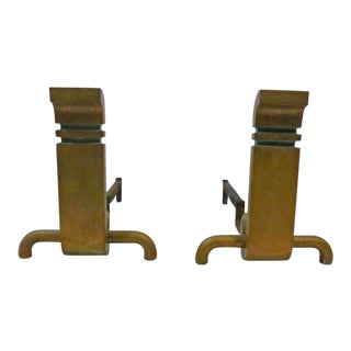 1950s Art Deco Wah Chang Bronze Andirons - a Pair For Sale