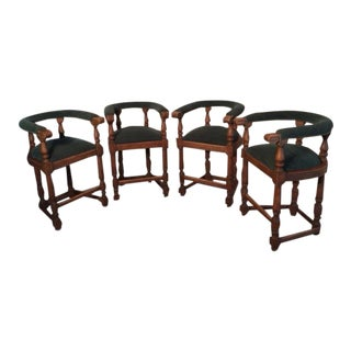 Vintage Minton-Spidell Tudor Style Bar Stools - Set of 4