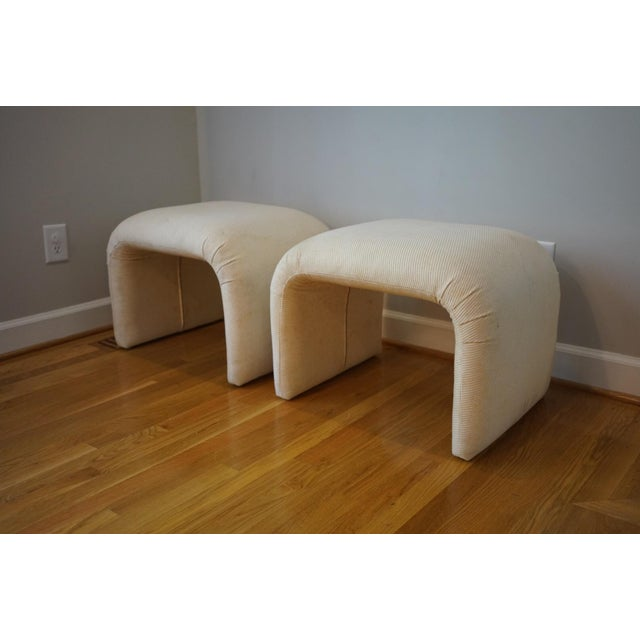 Mid Century Modern White Waterfall Benches - a Pair For Sale - Image 10 of 10
