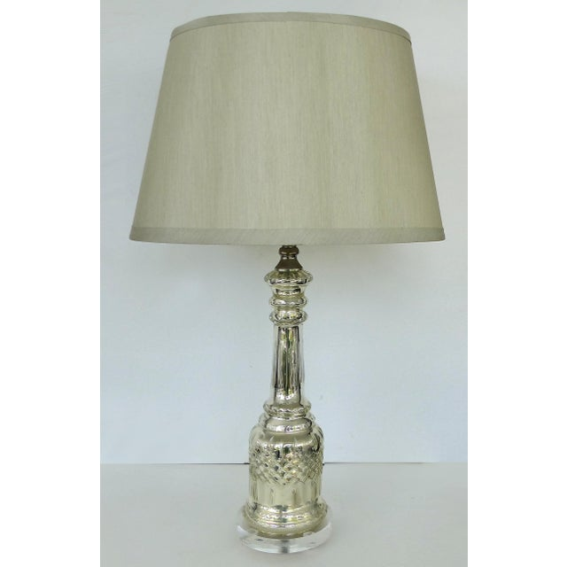 Glass Mercury Glass Table Lamps With Lucite Bases & Finials-A Pair For Sale - Image 7 of 11