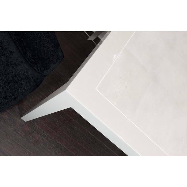 Modern Ivory Lacquer and Water Grey Shagreen Game Table with Bone For Sale - Image 3 of 7