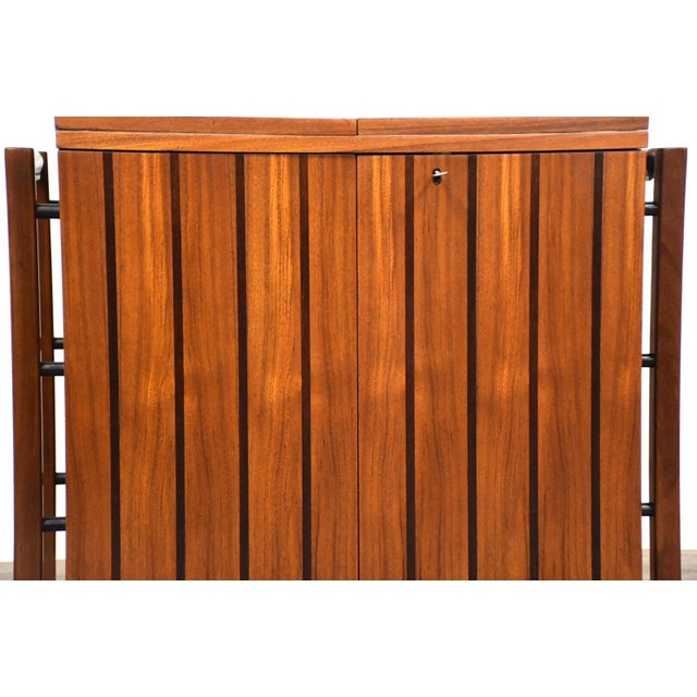 Wood Scandinavian Modern Teak Rolling Bar Cart For Sale - Image 7 of 10
