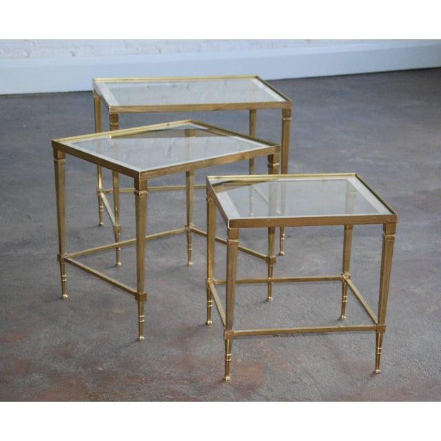 Italian Circa 1950, Italian, Mid-Century Modern, Brass & Mirrored Glass, Nesting Tables - Set Of For Sale - Image 3 of 10