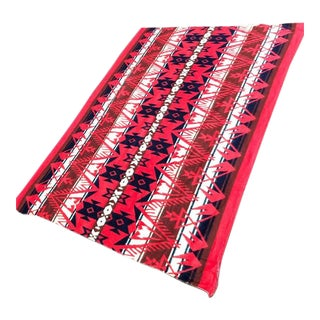 1960s Southwestern Print Red Wool Blanket For Sale