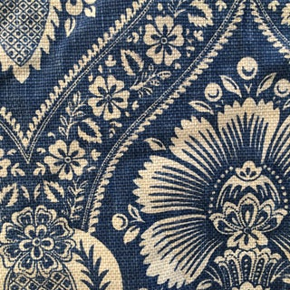 Indigo Printed Cotton/Linen Damask Upholstery Fabric - 4 Yds For Sale