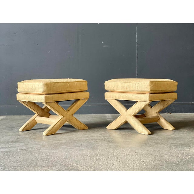 Custom Vintage Grass Cloth X Stools a Pair For Sale - Image 4 of 8