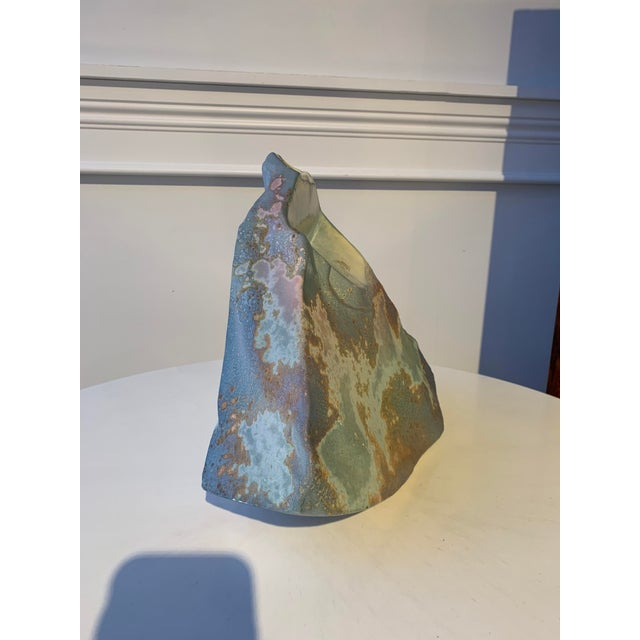 """Abstract brutalist raku studio pottery vase by well-known Californian artist Anthony """"Tony"""" Evans"""
