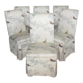 Hollywood Regency French Floral Animal Print Parson Dining Chairs - Set of 6 For Sale