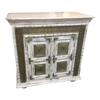 Shabby Chic Square Whitewashed Cabinet For Sale