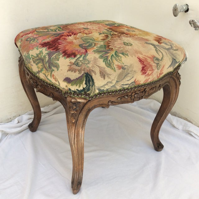 Gold Antique French Tapestry Stool For Sale - Image 8 of 10