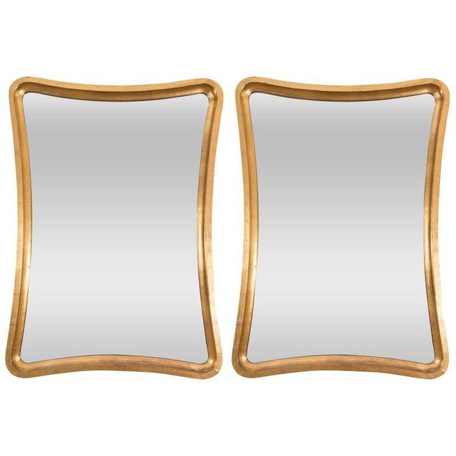 Pair of Giltwood Wavy Mirrors For Sale In New York - Image 6 of 6