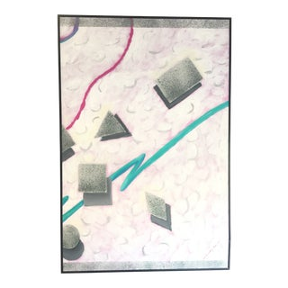 1980's Vintage Floating Geometric Shadowed Shapes Painting For Sale