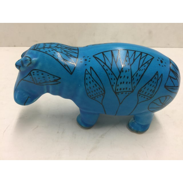 2000s Modern Primitive Blue Hippo Museum of Modern Art For Sale - Image 5 of 5