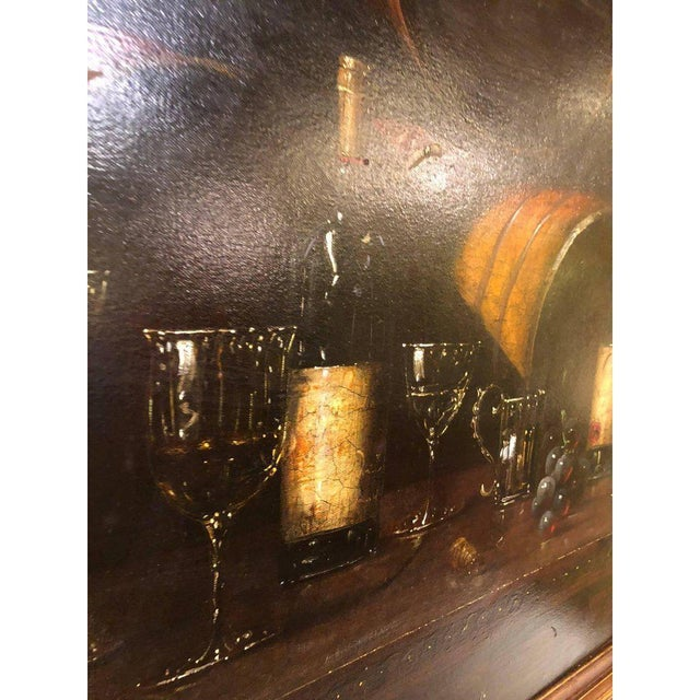 Bartolome Luzanquis Oil on Canvas Still Life of Wine Bottles With Glasses For Sale - Image 4 of 8