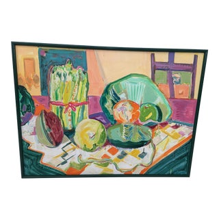 1980s Evelyn A. Synder Signed Oil Still Life Painting For Sale