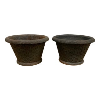 19th Century Victorian Cast Iron Basket Weave Planters - a Pair For Sale