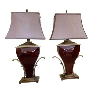 Hollywood Regency Art Deco Uttermost Table Lamps - a Pair For Sale