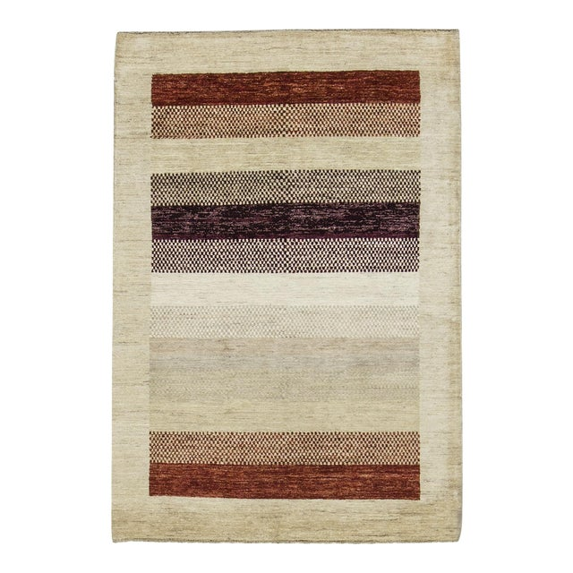"Contemporary Hand Woven Rug 4'2"" X 6'2"" For Sale"