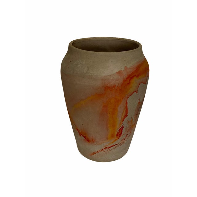 1940s Vintage Nemad Indian Orange Brown Pottery Vase For Sale - Image 5 of 10