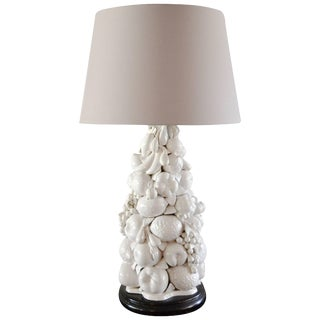 Italian Blanc De Chine Fruit Topiary Table Lamp For Sale